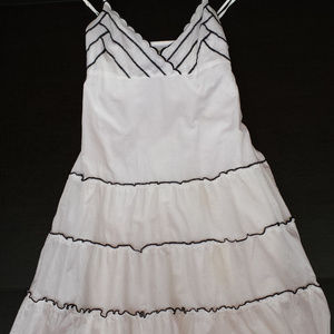 Guess Jeans white ruffled sundress with black trim